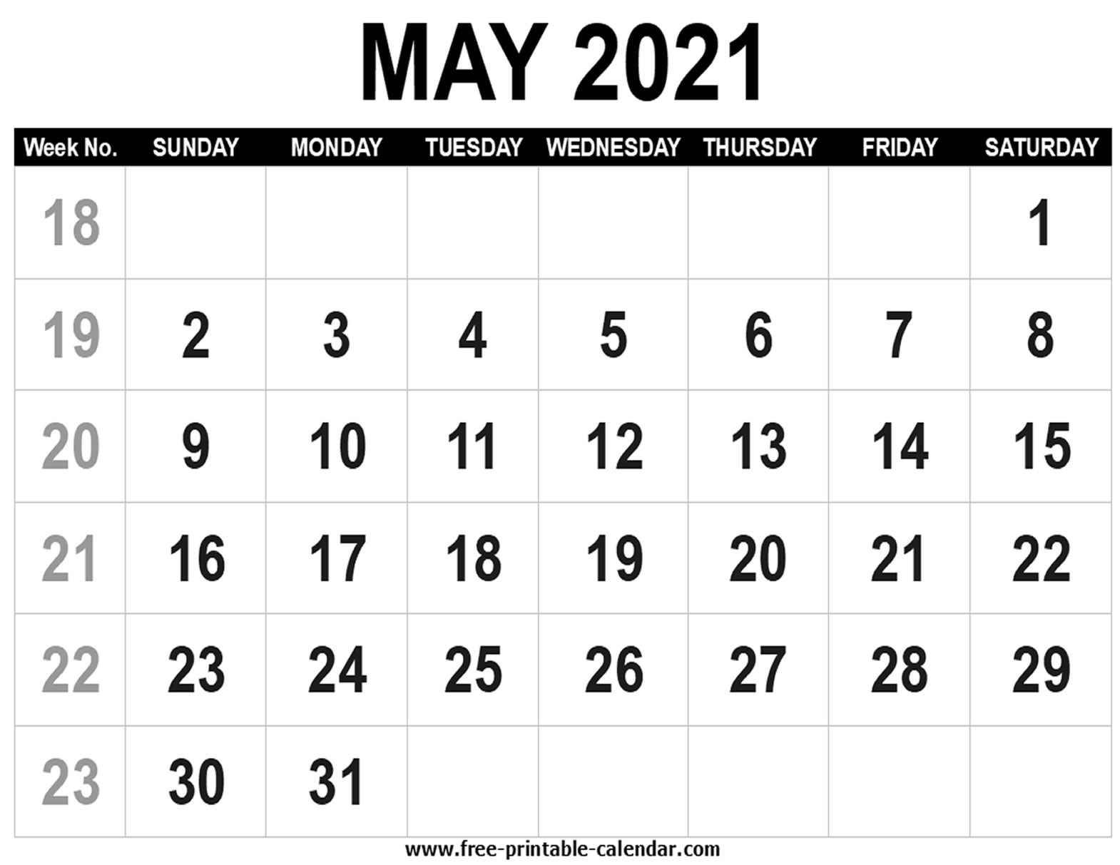 Blank Calendar 2021 May Free Printable Calendar