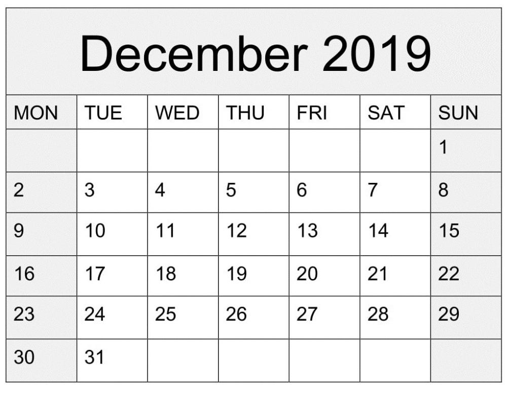 blank calendar december 2019 printable worksheet template