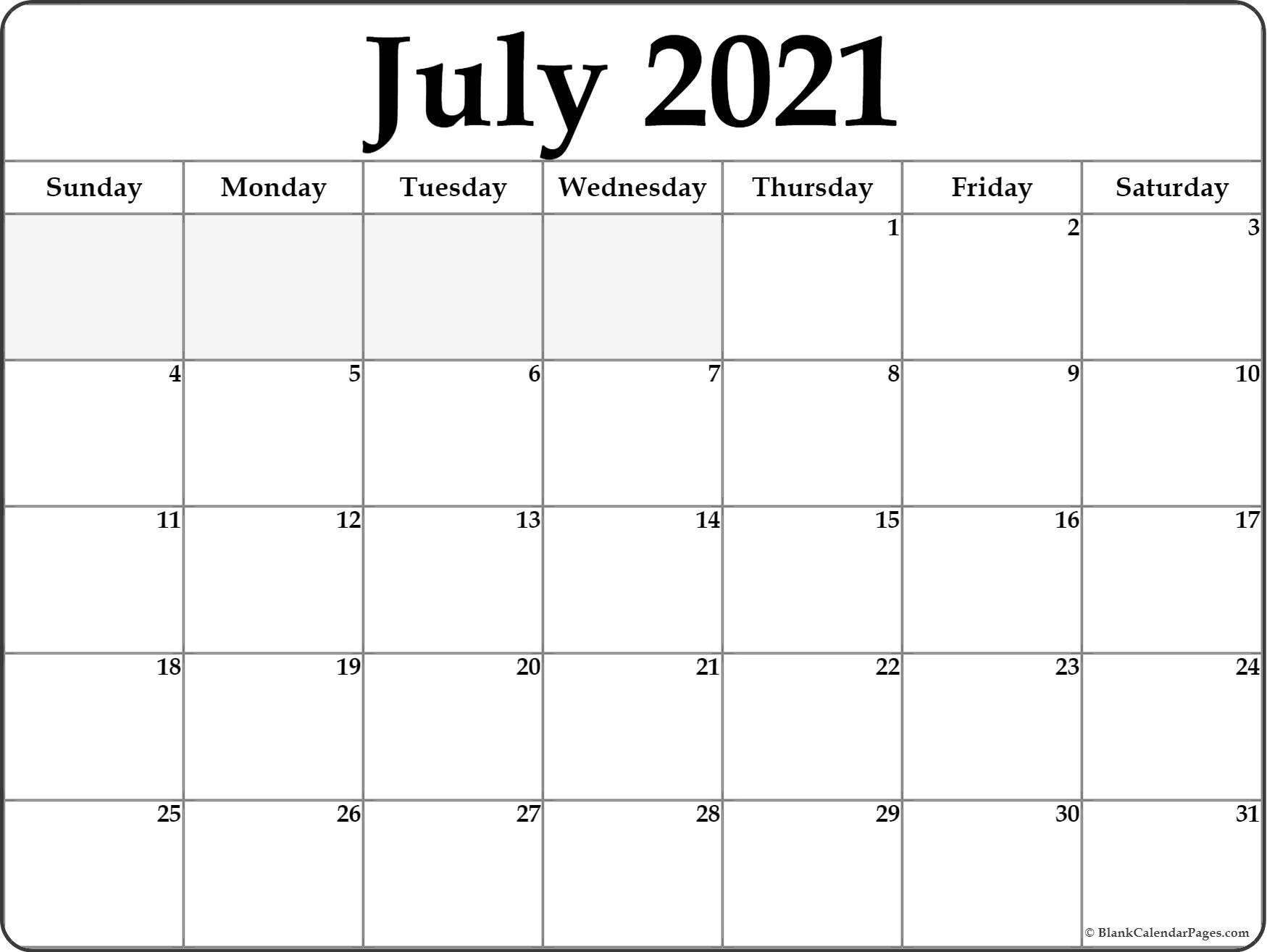Blank Calendar July 2021 Printable Fillable Calendar 2021