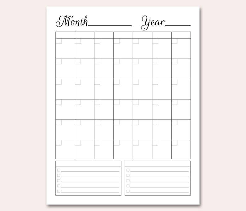 blank calendar printable blank perpetual calendar diy | etsy
