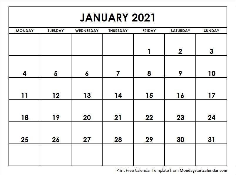Blank January Calendar 2021 Starting Monday Archives