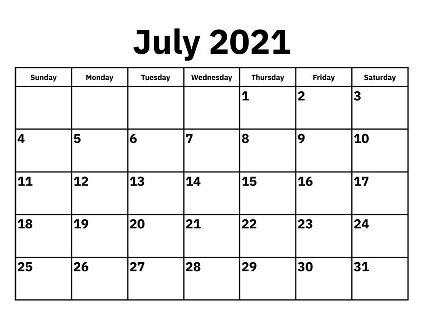 Blank July 2021 Calendar Editable Pdf Thecalendarpedia