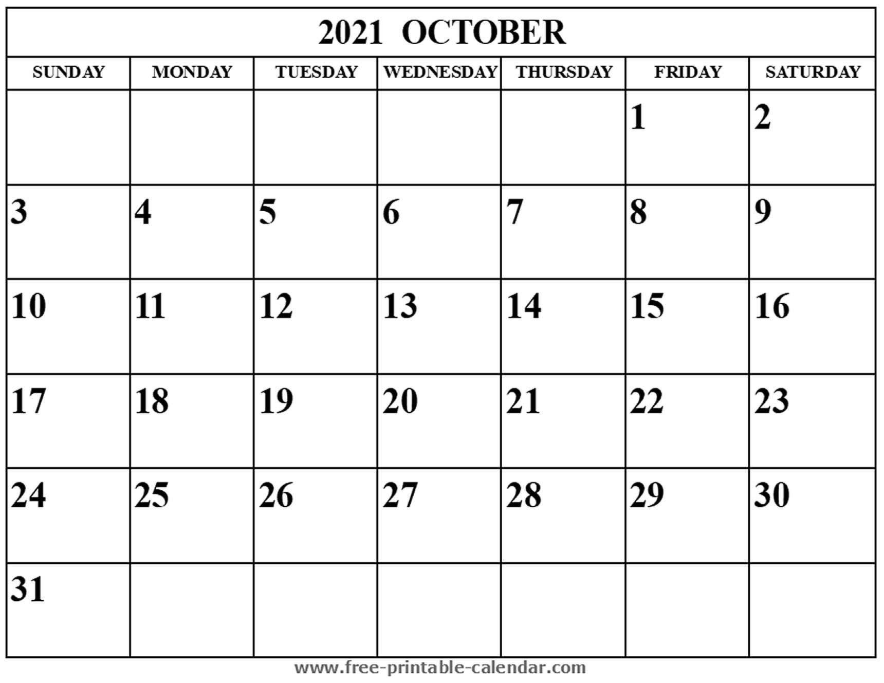 blank october 2021 calendar free printable calendar