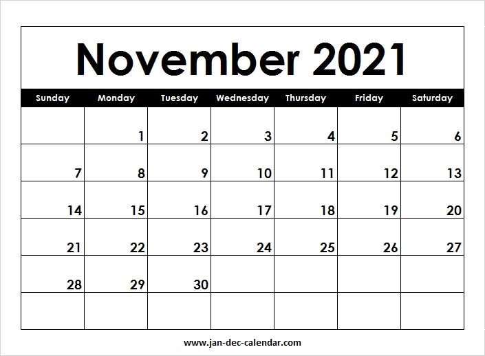 Blank Printable November Calendar 2021 Template Free