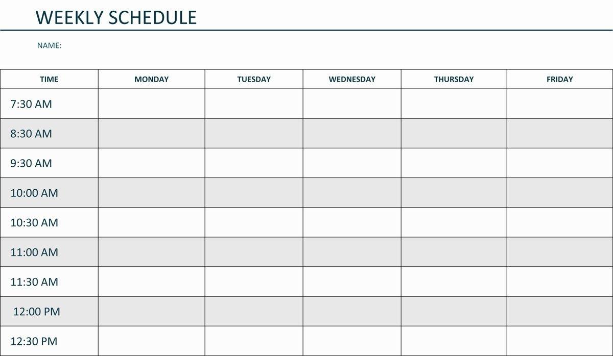Blank Weekly Am/pm Schedule Template Calendar