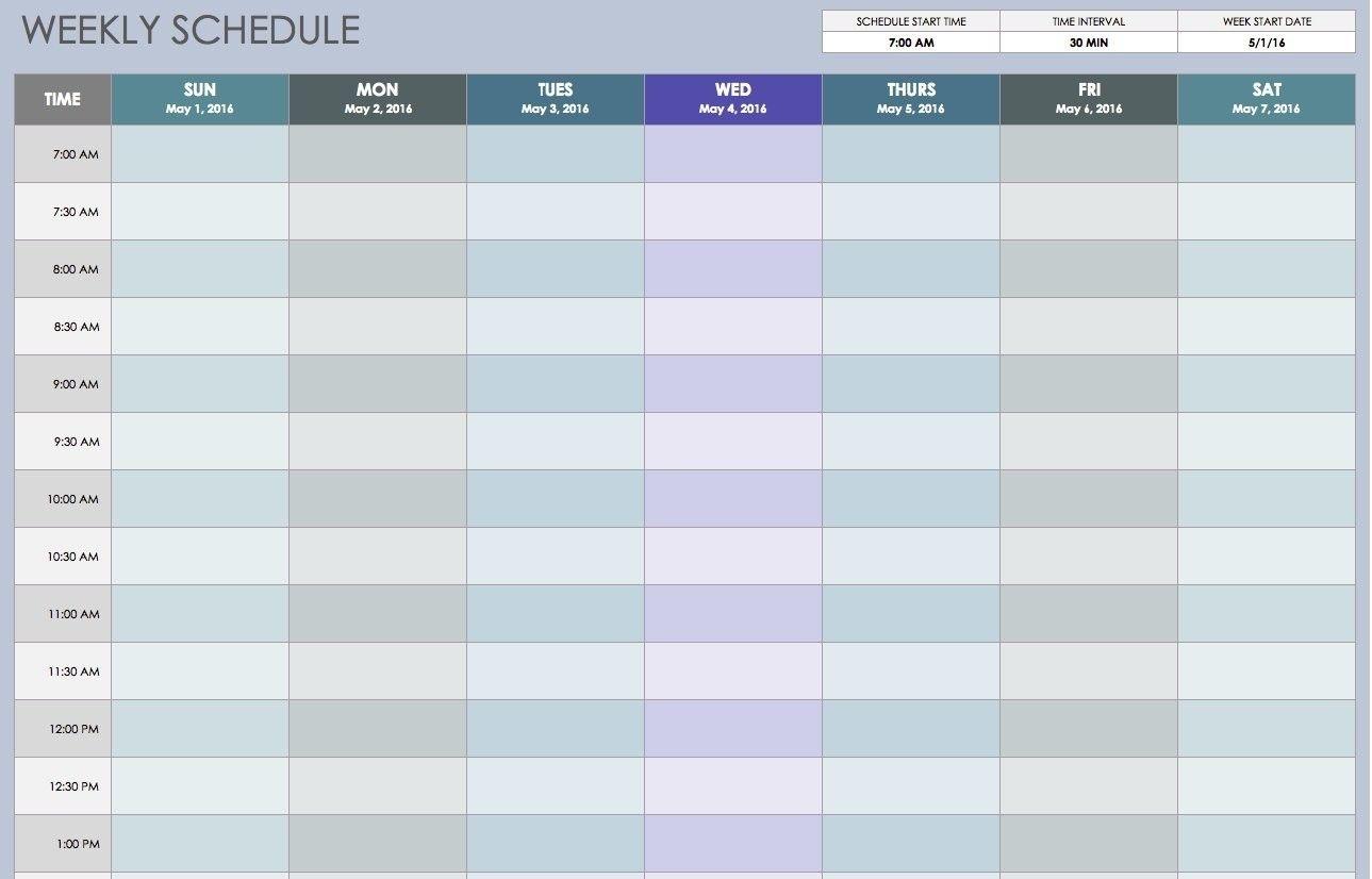 blank weekly calendar 15 minute increments | calendar