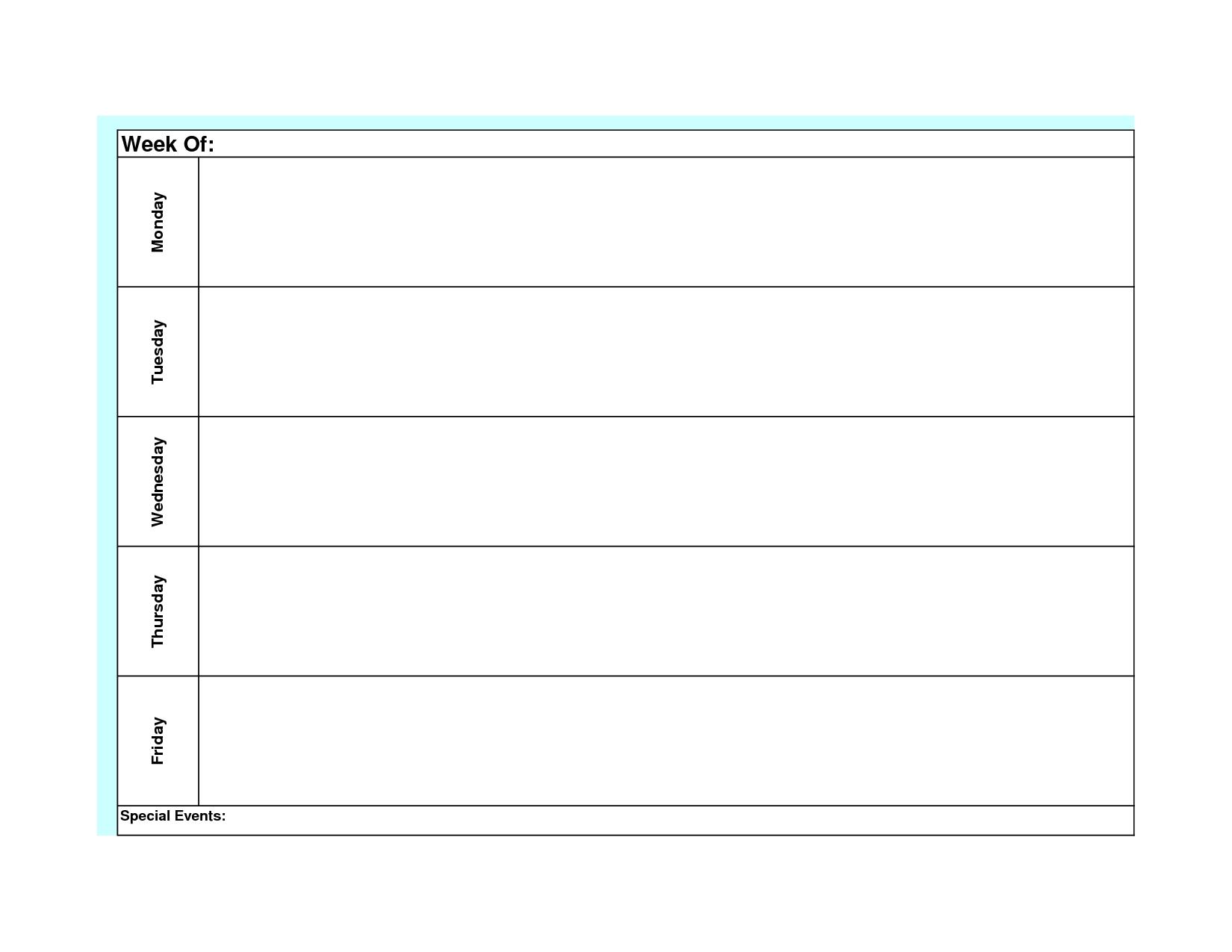 Blank Weekly Calendar Template Monday Friday | Blank