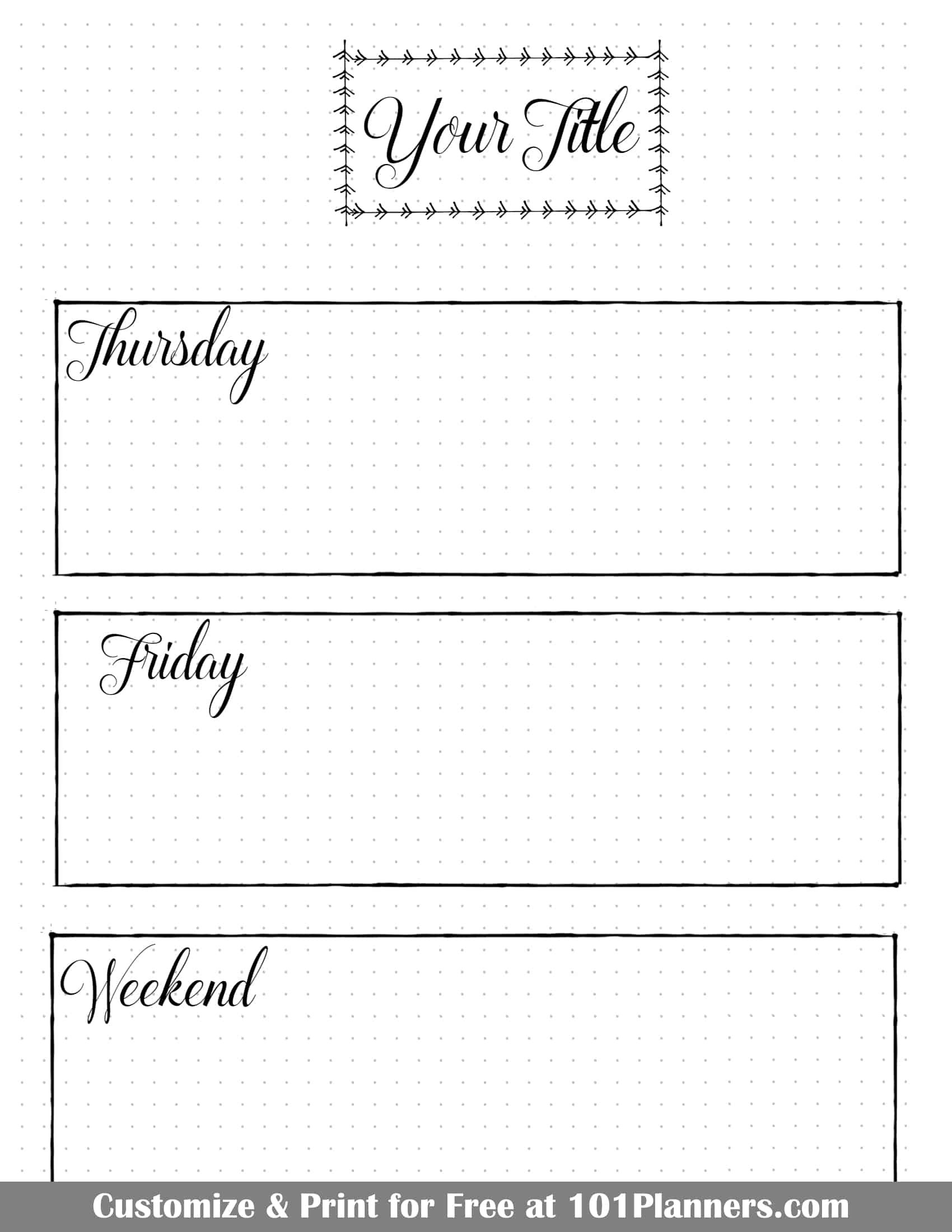 bullet journal calendar | free customizable printable