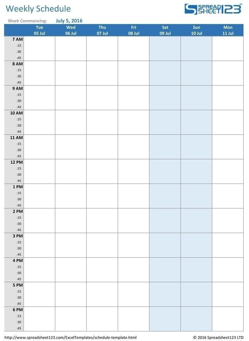 Calendar 15 Minute Increments Free Printable Weekly