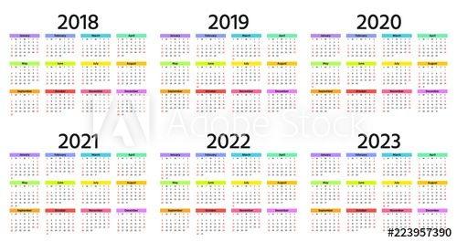 Calendar 2018, 2019, 2020, 2021, 2022, 2023 Year Week
