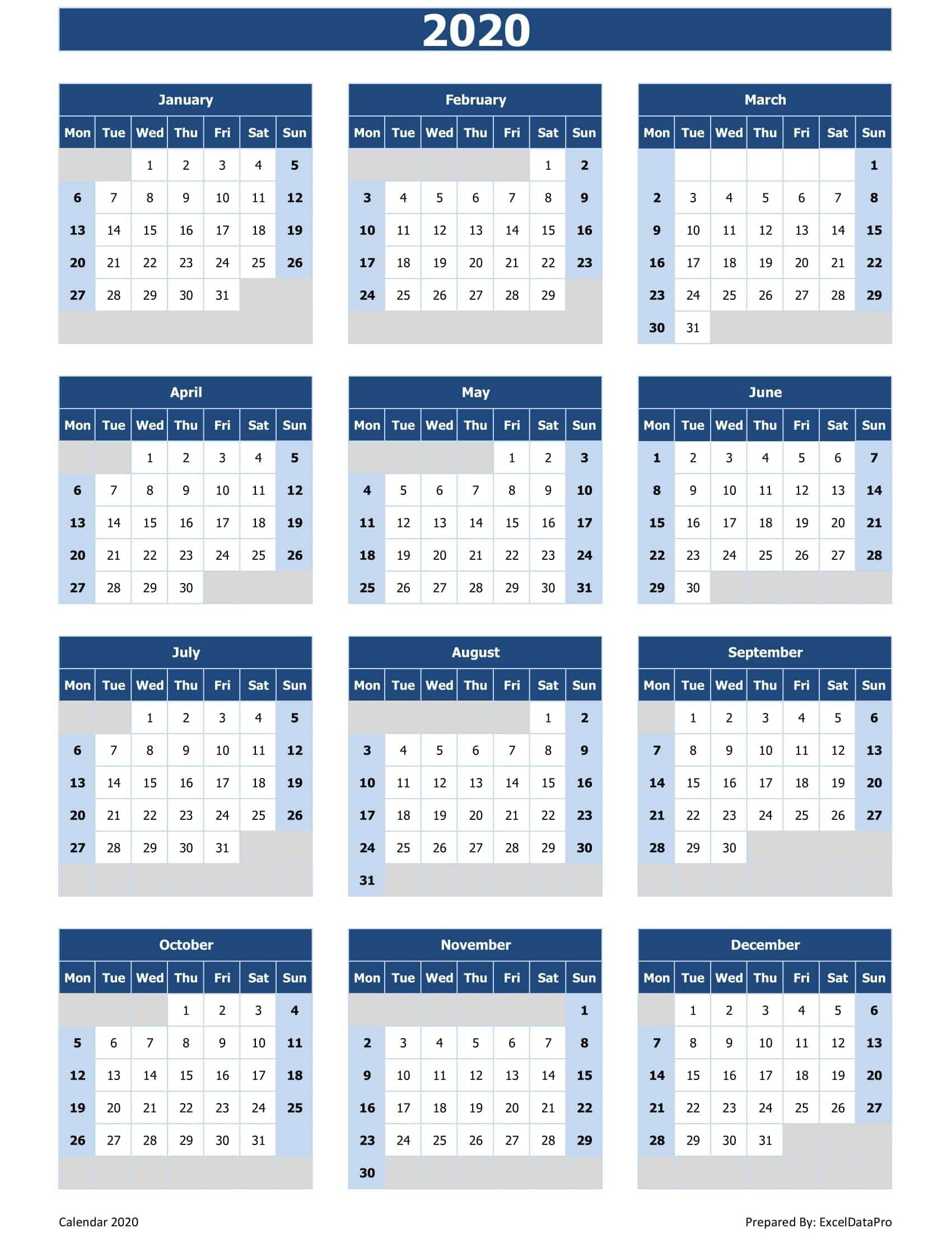 Calendar 2020 Excel Spreadsheet | Calendar Printables Free
