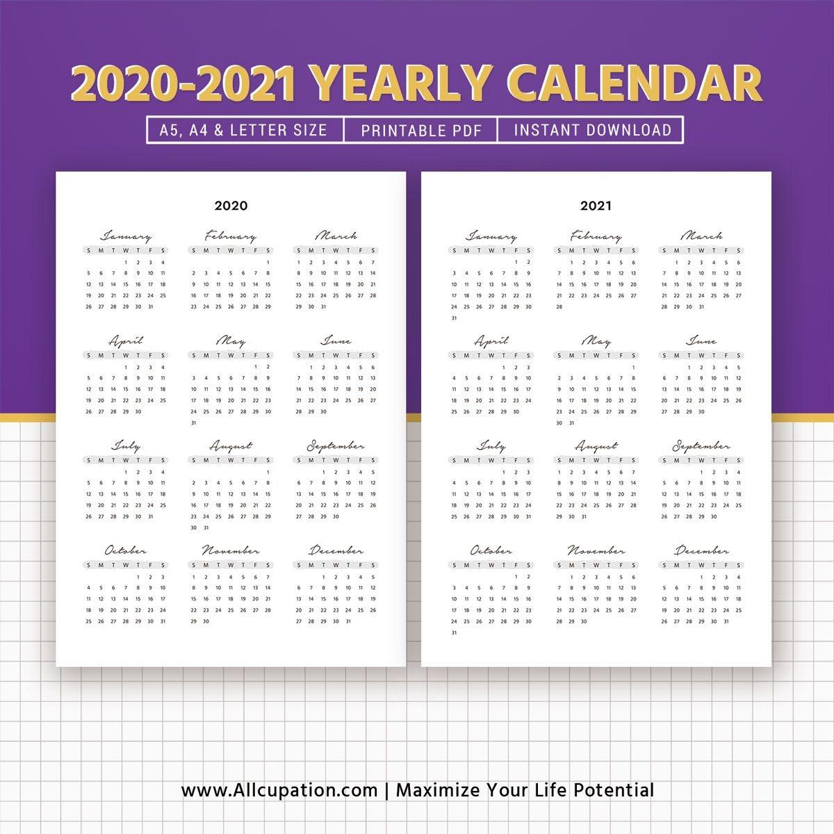 calendar 2020 year at a glance   calendar printables free