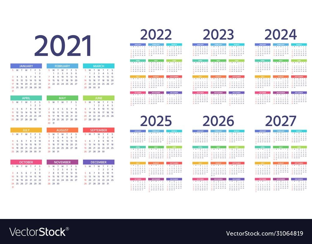 calendar 2021 2022 2023 2024 2025 2026 2027 years vector image