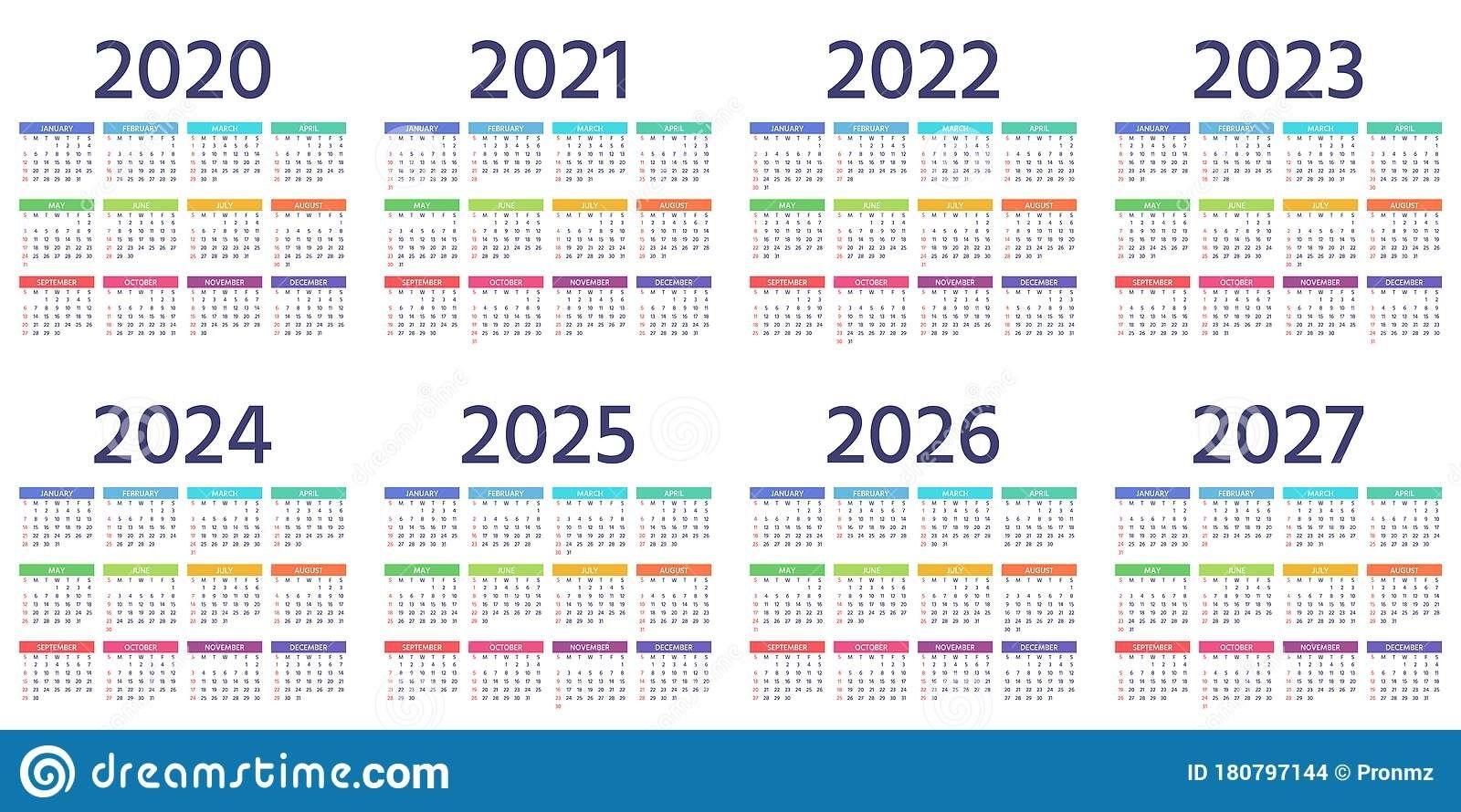 Calendar 2021 2022 2023 Years Vector Illustration Simple