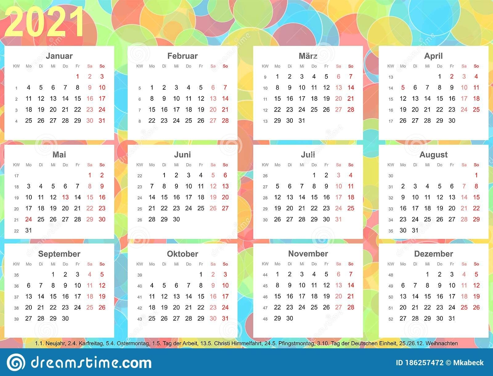 calendar 2021 background colorful circles ger stock