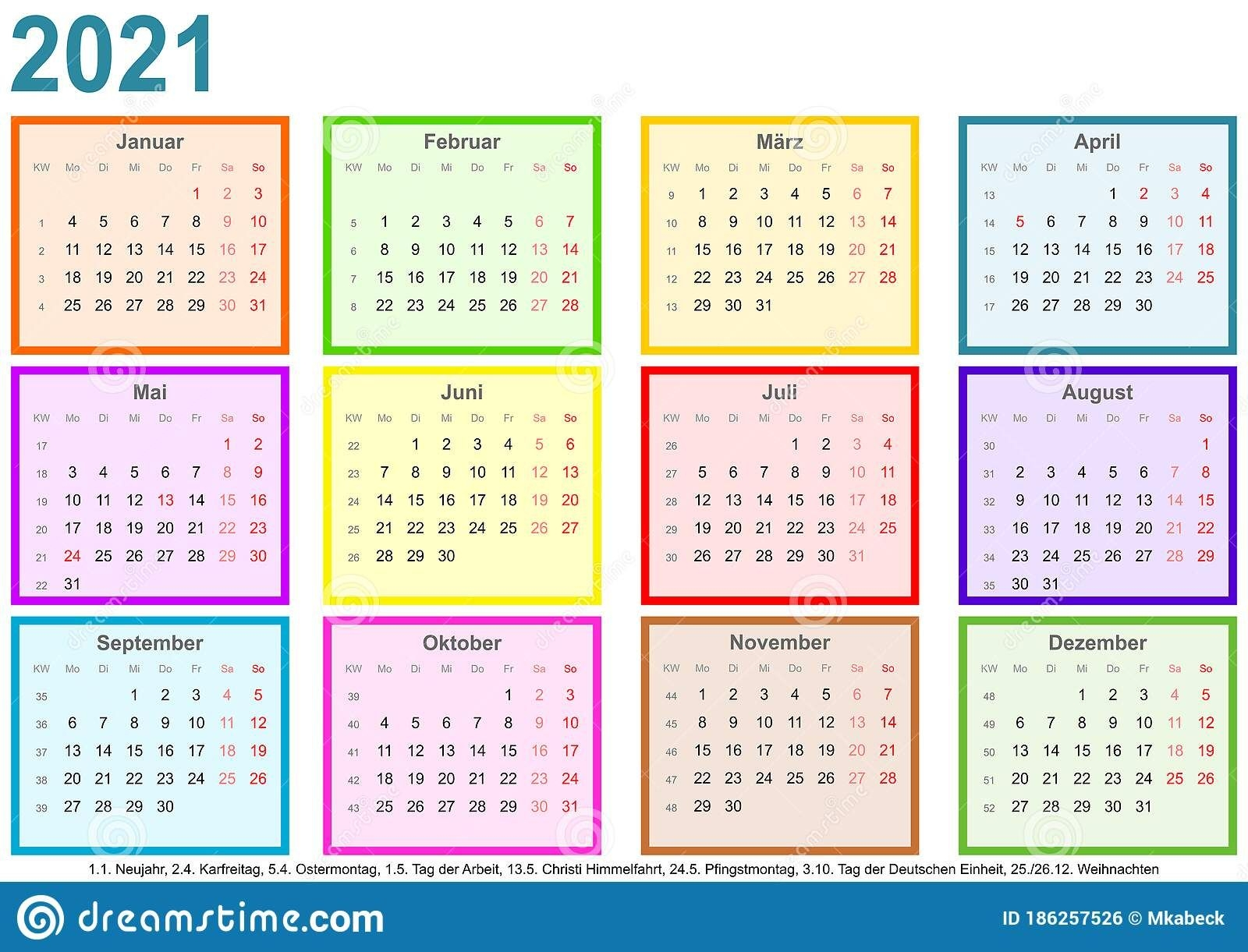calendar 2021 each month different colored square ger