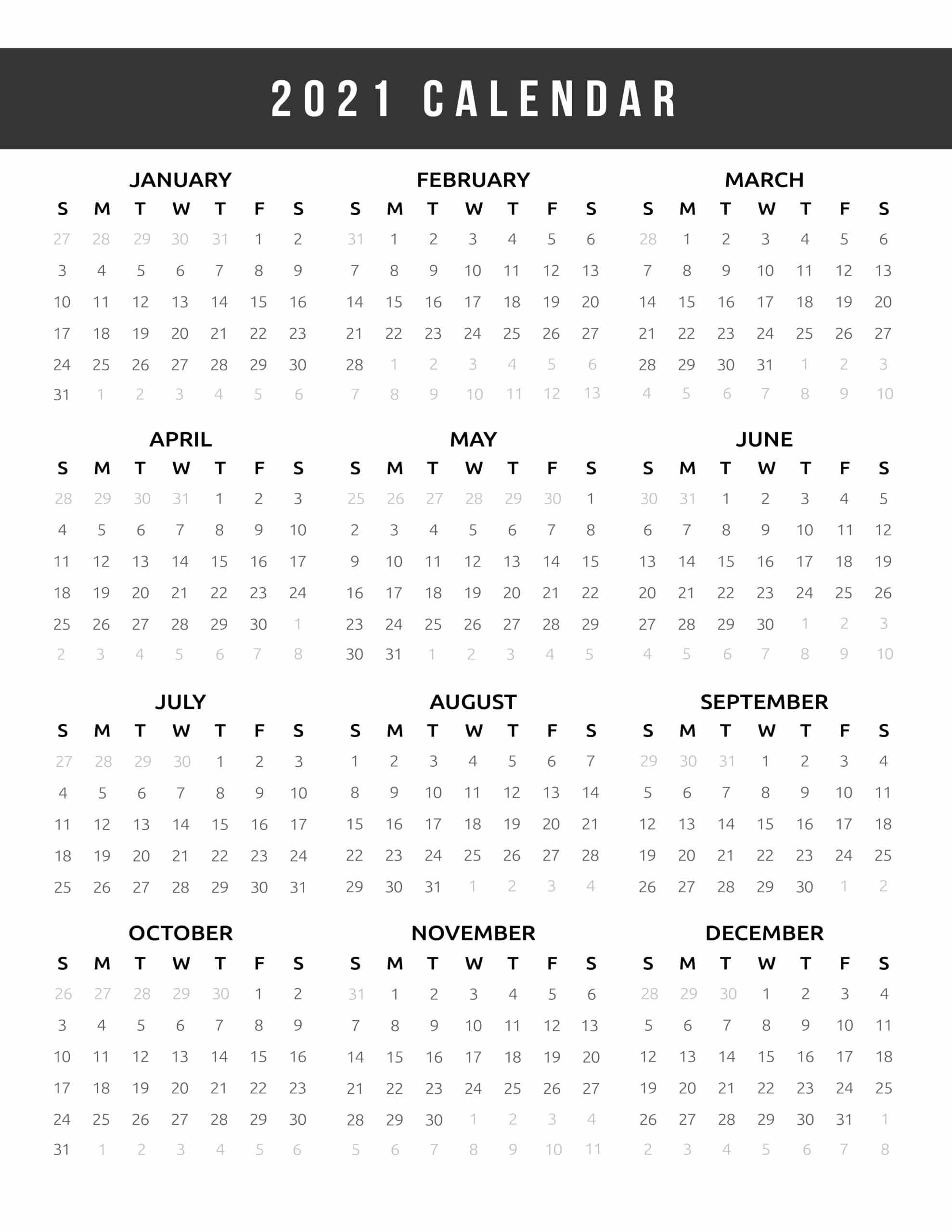 calendar 2021 printable one page world of printables
