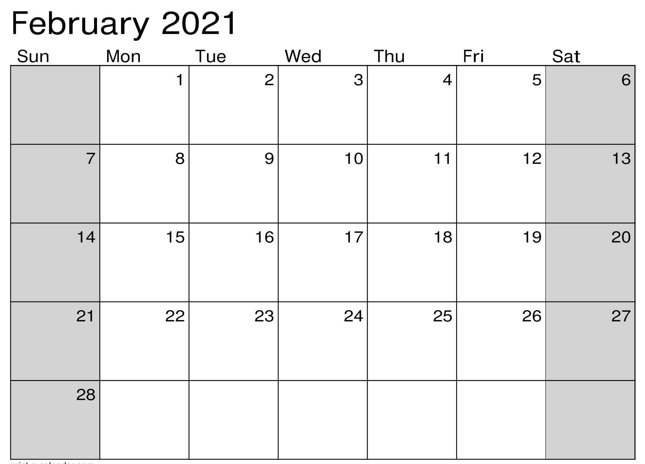 Calendar February 2021 Printable Pdf Holidays Template