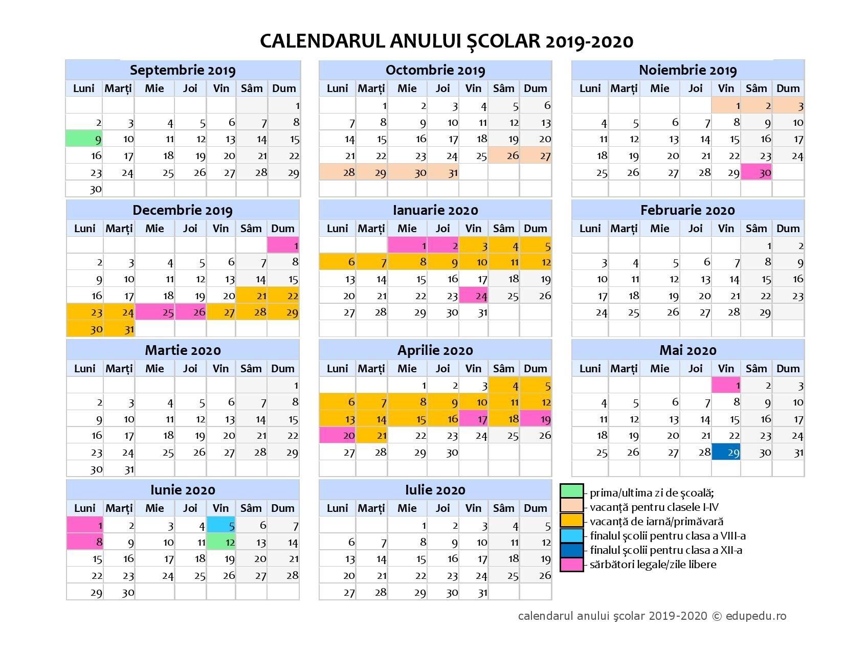 """calendar Școlar 2019 2020 liceul pedagogic """"gheorghe"""