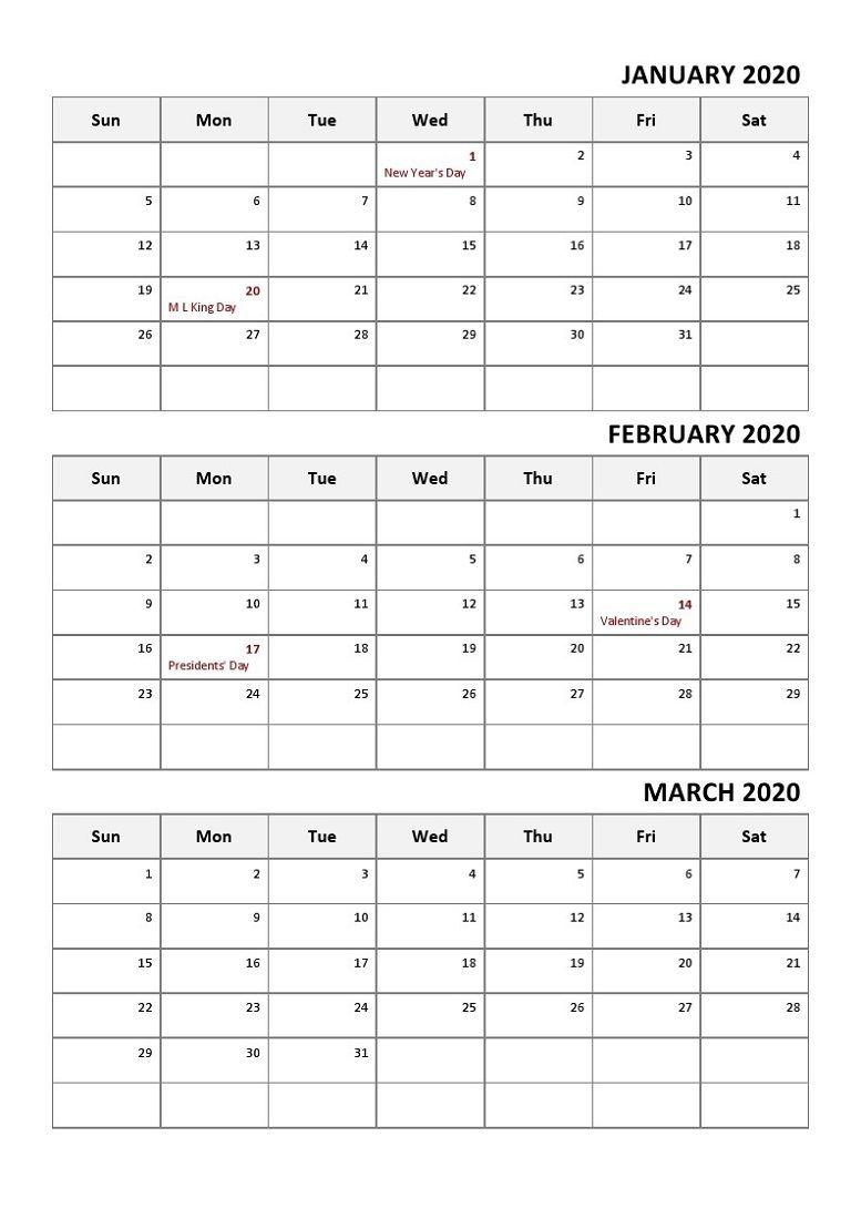 calendar year quarters 2020 | calendar printables free
