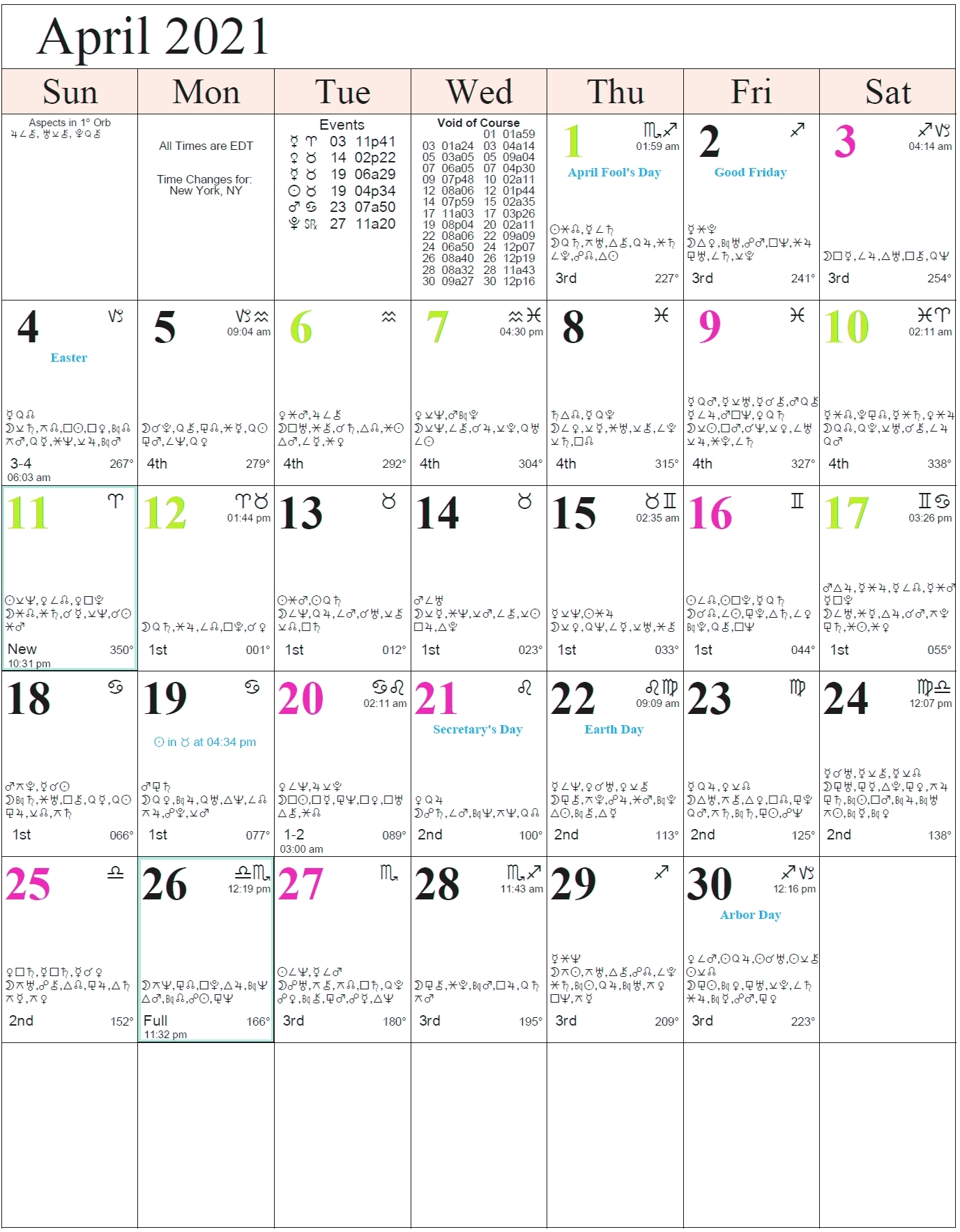 Calender 2021 With The Zodiac Signs On It | Month Calendar