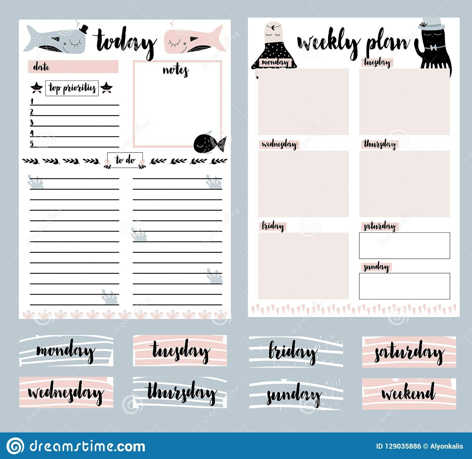 clip art, collection of daily planner, weekly planner