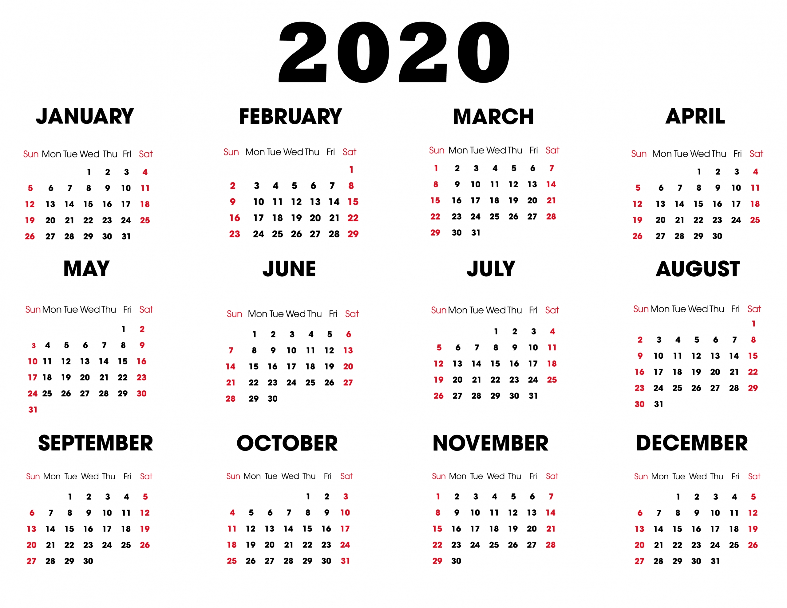 collect year at a glance calendar 2020 free editable