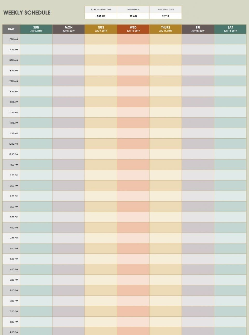 Daily Calendar Template 30 Minute Increments | Free