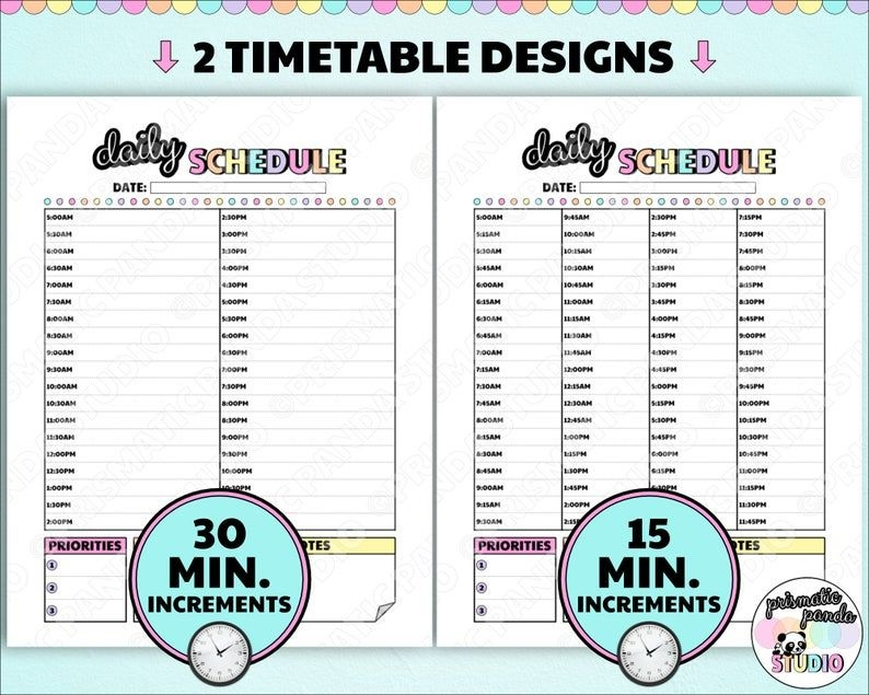 Daily Schedule Printable 15 30 Minute Increment Timetable