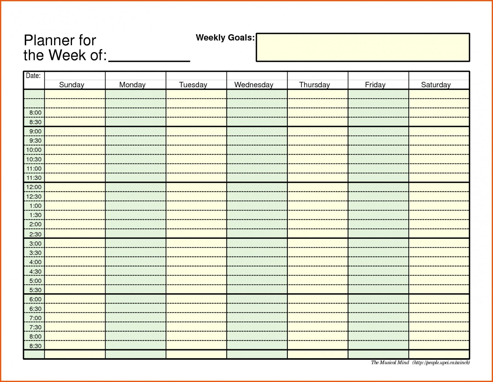 Daily Schedule With Time Slots Calendar Inspiration Design