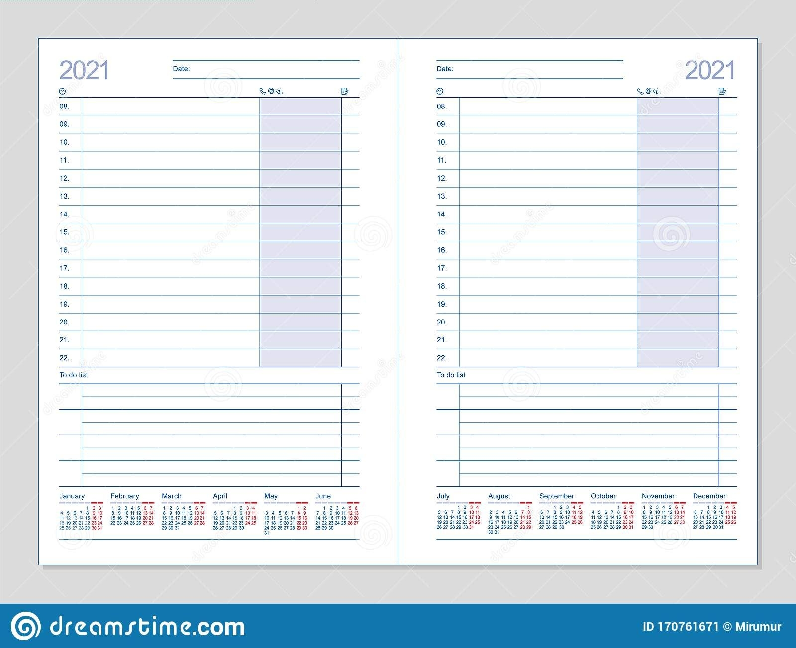 Datebook 2021 Diary 2021 Daily Planner 2021 Stock Vector