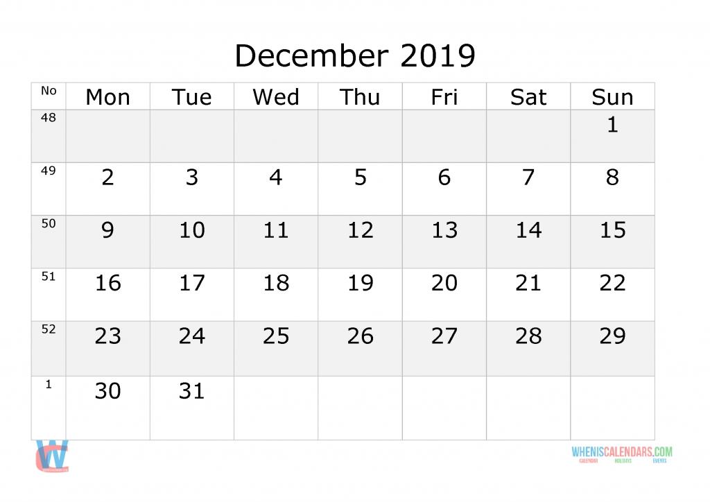 december 2019 calendar with week numbers printable, start