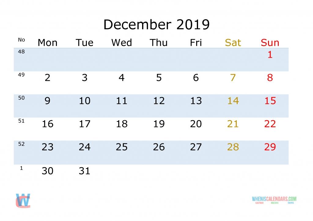 december 2019 printable calendar with week numbers monday