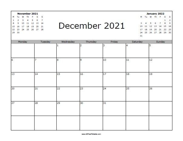 december 2021 calendar | allfreeprintable