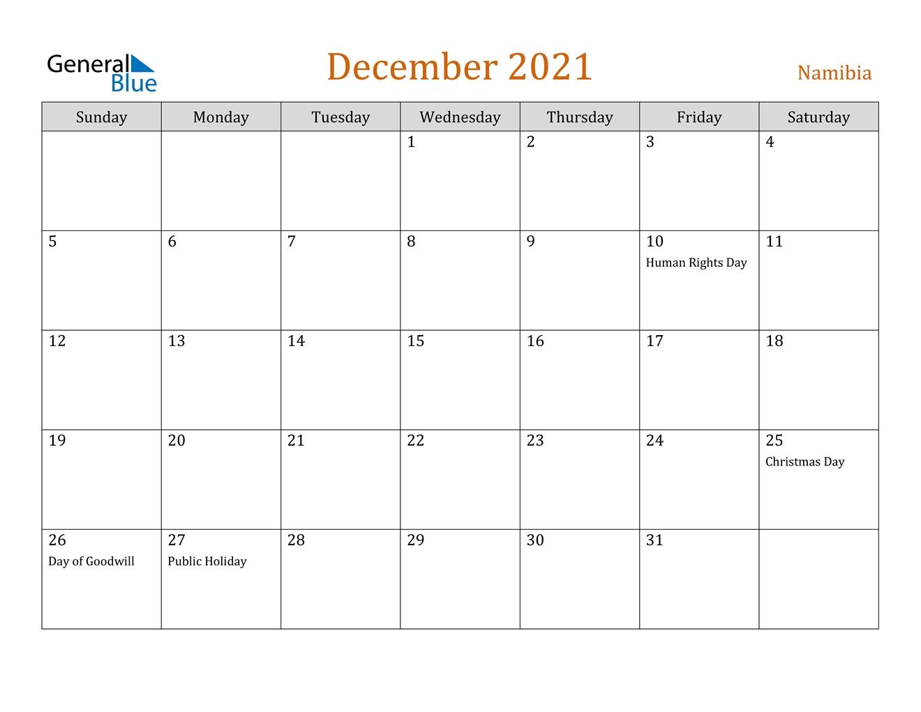 december 2021 calendar namibia