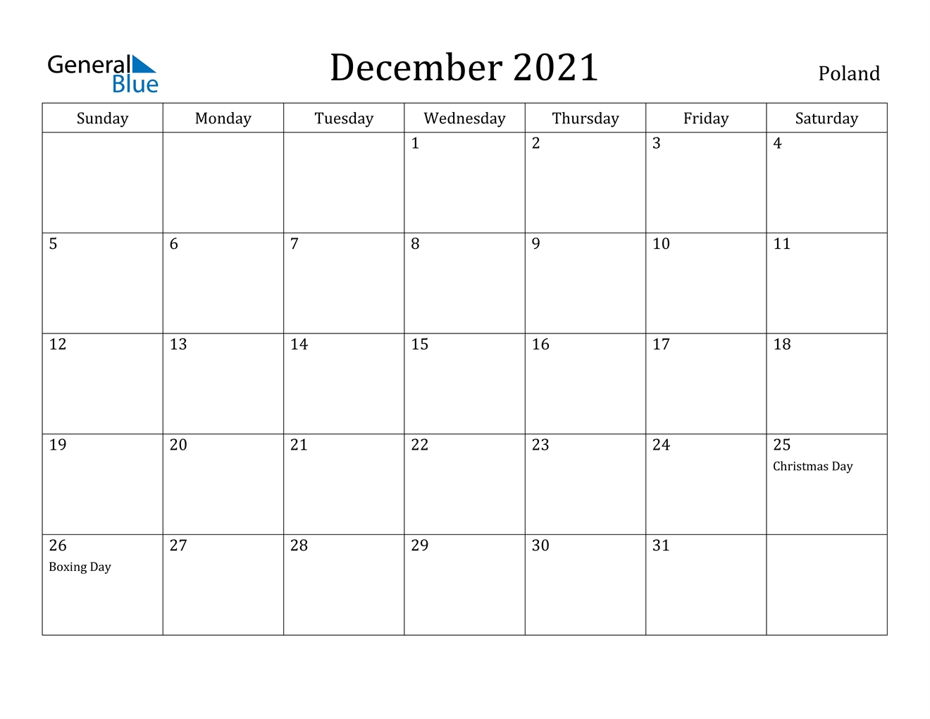 december 2021 calendar poland