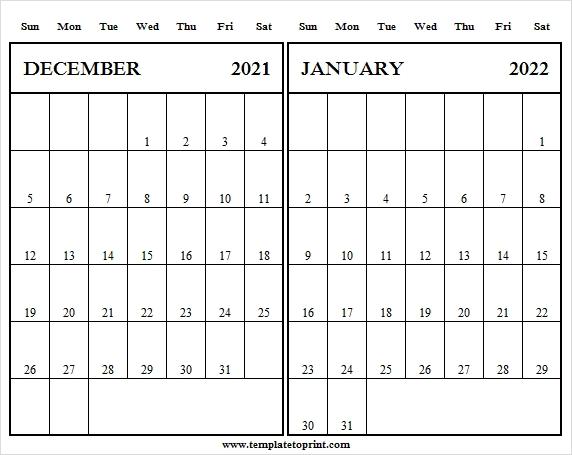 December 2021 January 2022 Calendar Template 2021