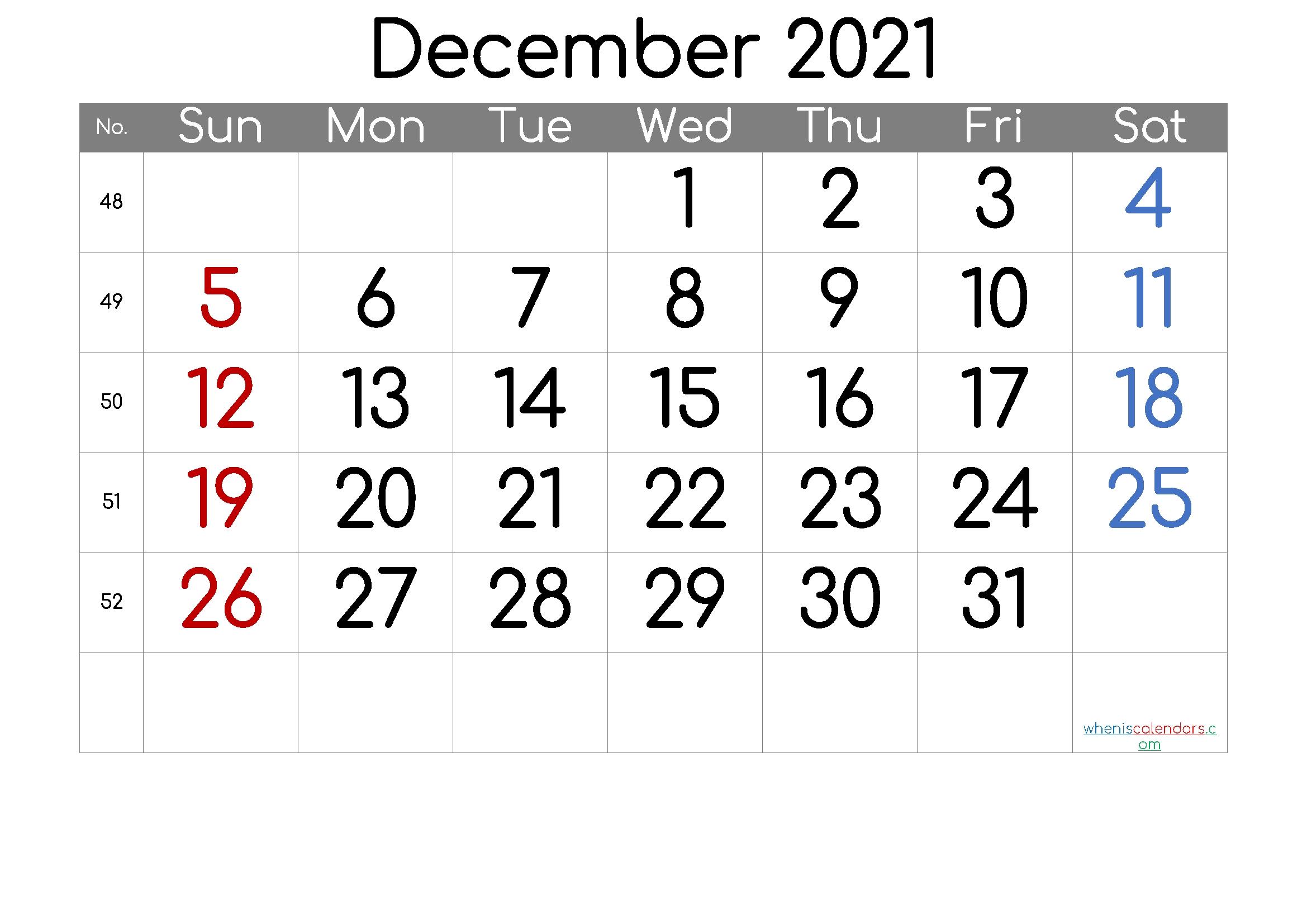 december 2021 printable calendar [free premium] in 2020