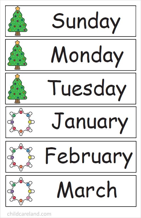december number tracing calendar