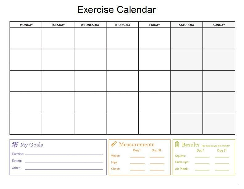 Diet And Exercise Calendar Template (with Images