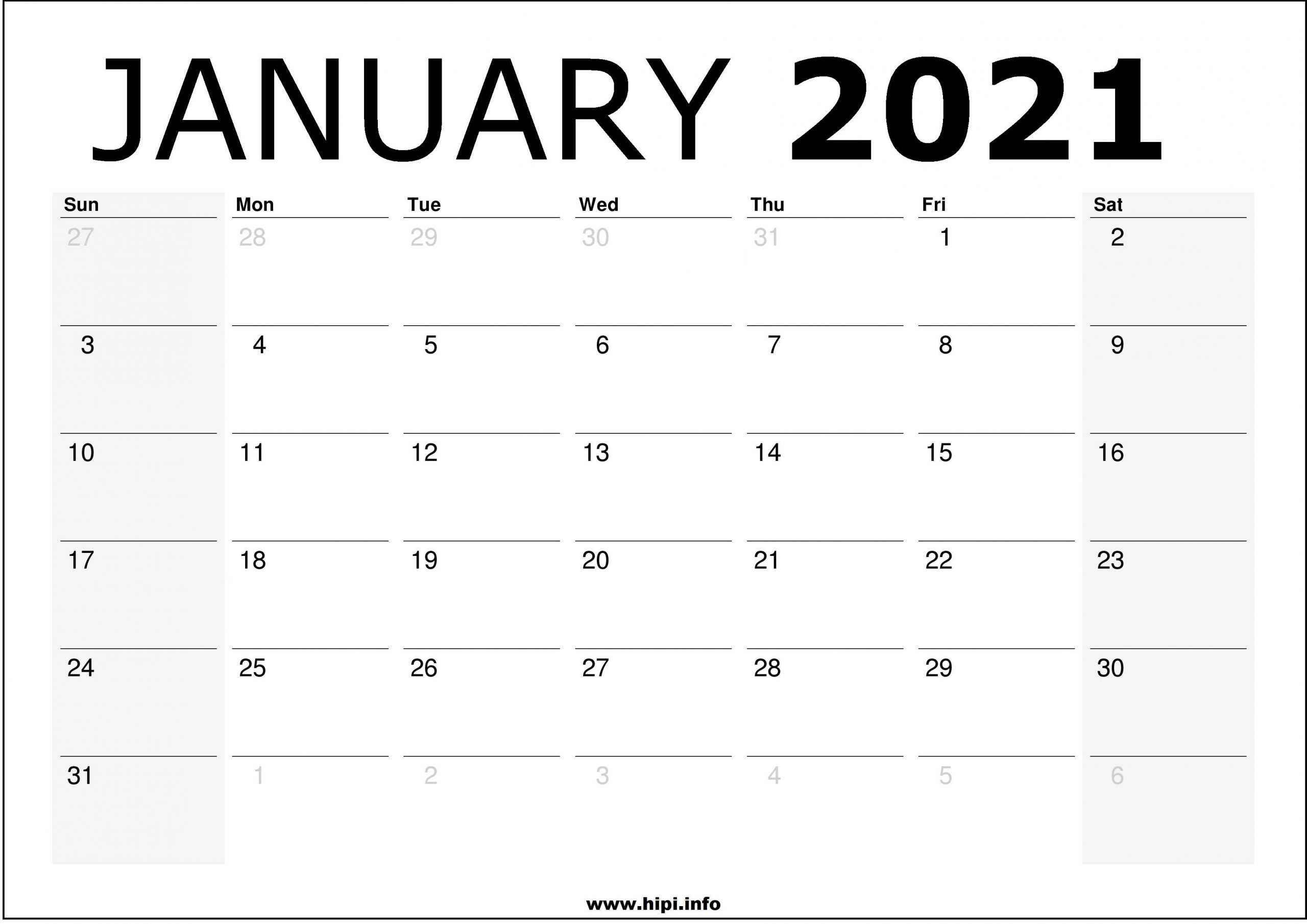 Download Calendar January 2021 / List Of Free Printable