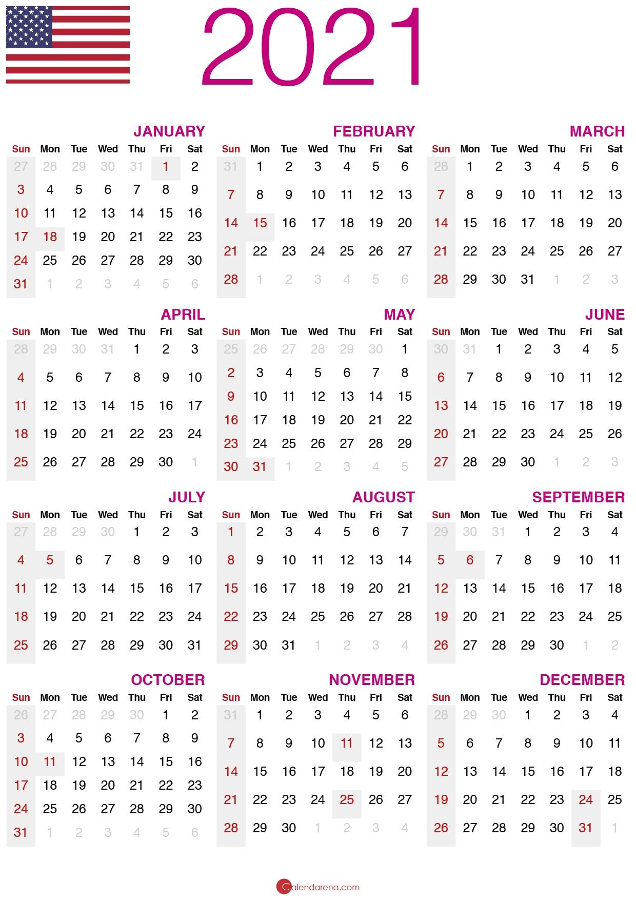 Download Free Printable Calendar 2021