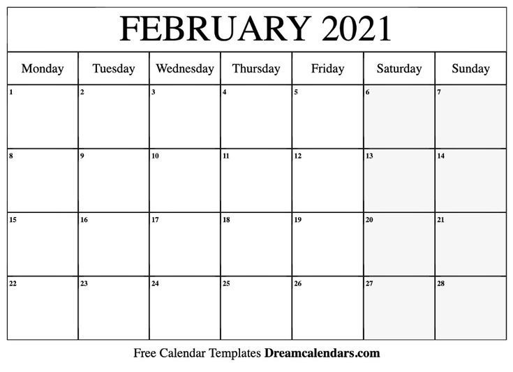 Download Ideas February 2021 Free Printable Calendar In