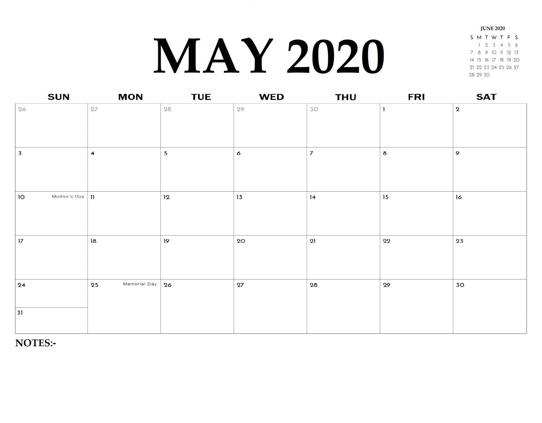 editable may calendar 2020 blank template free download
