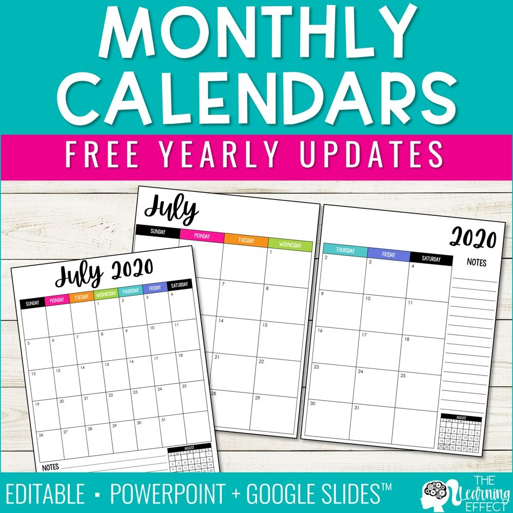 Editable Monthly Calendars 2020 2021 | Free Yearly Updates