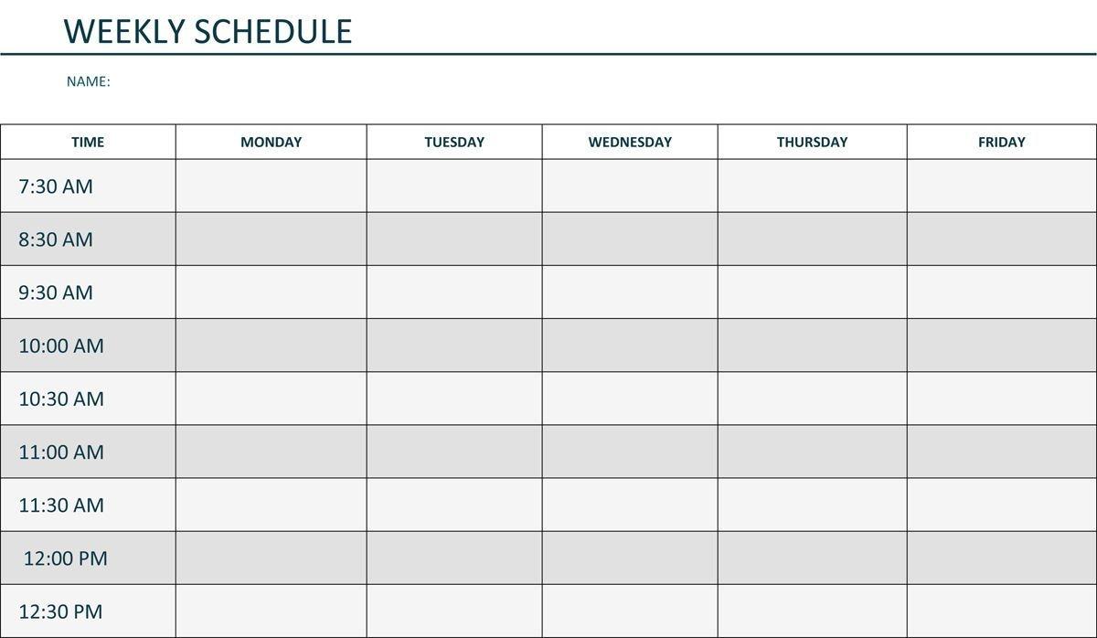 editable weekly schedule template in word | schedule