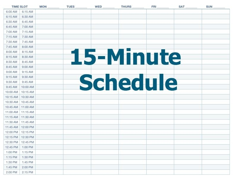 excel 15 minute schedule template printable paper template