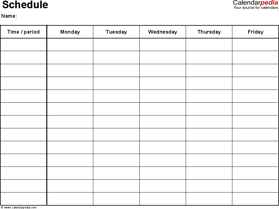 excel schedule template 1: landscape format, 1 page