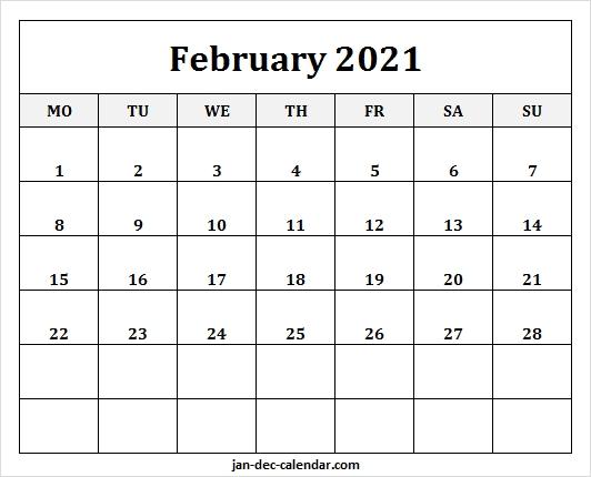 February 2021 Calendar Monday Start | Free Blank 2021 Template