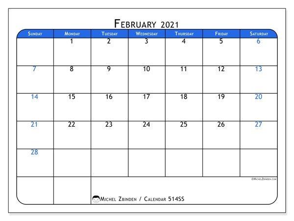 "February 2021 Calendars ""sunday Saturday"" Michel"